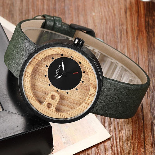 Fashion Top Brand Wooden Watch Men Exquisite Carving Hollow Design Male Clock Unique Green Leather Quartz Wood Watches
