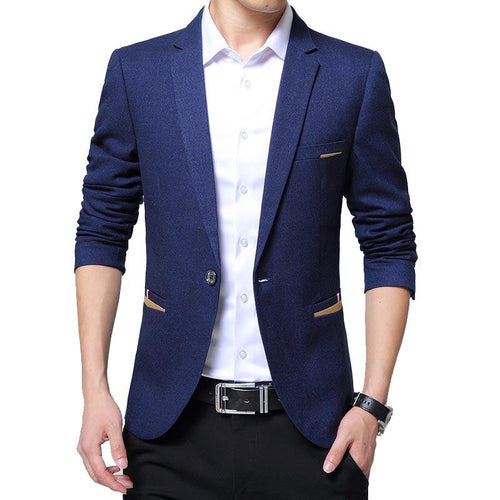 Men Casual Blazer Slim Fit Masclulino Notched Collar Solid Color Business Casual Blazer