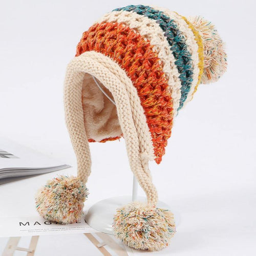 Winter Knitted Hats Women Patchwork Pompon Balls Earflap Caps Ladies Warm Thick Winter Beanies Female Beanie Hat