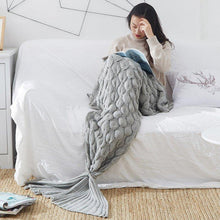 Load image into Gallery viewer, Blanket Cover Mermaid Blanket Plaid Knitted Plaids Bed Cover Mermaid's Tail Blanket Knit Crochet Sleeping Bag Warm - moonaro