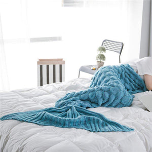 Blanket Cover Mermaid Blanket Plaid Knitted Plaids Bed Cover Mermaid's Tail Blanket Knit Crochet Sleeping Bag Warm - moonaro