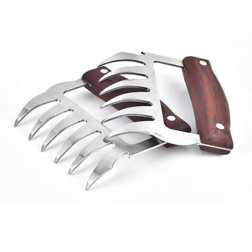 High quality meat claw wooden handle stainless steel bear claw chicken separator processor food fork puller kitchen chef tool