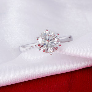 14K 585 White Gold  Moissanite Diamond Engagement Ring for Women Fine Jewelry Center 2ct F Color Moissanite Ring - moonaro