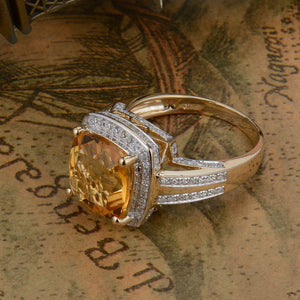 Fine Jewelry Rings Vintage Cushion 10mm Citrine And Diamond Ring 14k Yellow Gold Natural Gemstone Ring - moonaro