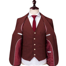 Load image into Gallery viewer, Burgundy Suits For Men 3 Piece Formal Business Suits Men's Dress Suits High Quality Slim Fit Groom Wedding Tuxedo