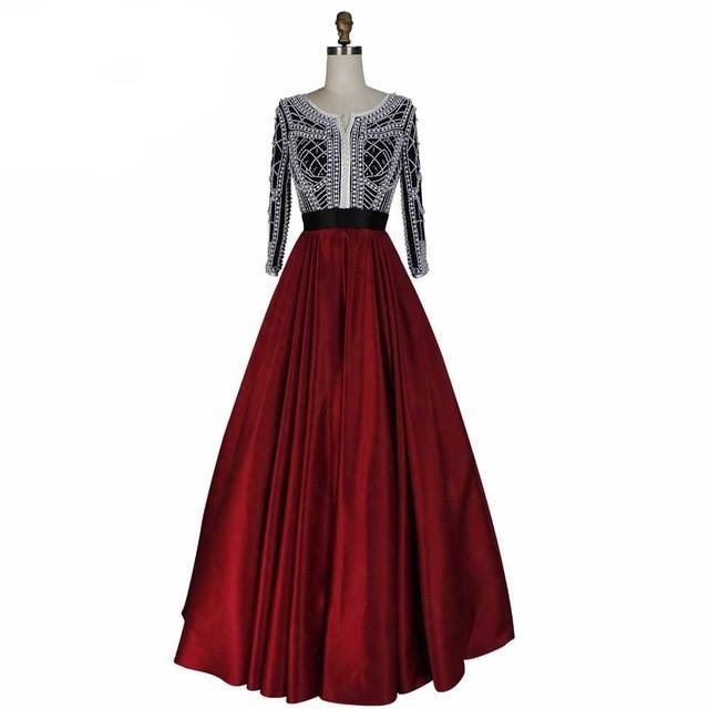 Dress Evening Long Party Burgundy Color Handmade Three Quarter Sleeves - moonaro