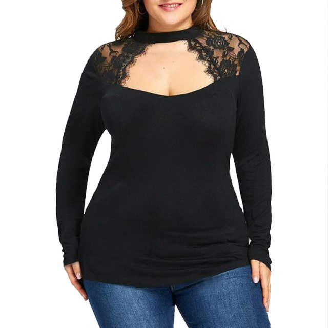 Sexy Lace Blouses Shirts  Pregnancy Women Long Sleeve O Neck Splice Casual Loose Solid Tees Tops Plus Size Maternity Clothes