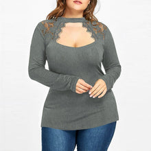 Load image into Gallery viewer, Sexy Lace Blouses Shirts  Pregnancy Women Long Sleeve O Neck Splice Casual Loose Solid Tees Tops Plus Size Maternity Clothes