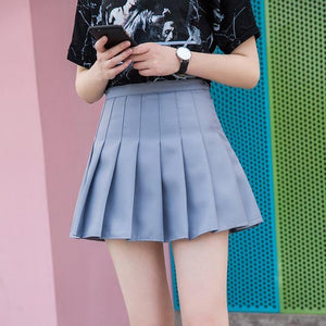 High Waist A line Pleated Skirts Harajuku Preppy Style Mini Skirts Plus Size Solid Slim Skirts with Safe Pants - moonaro