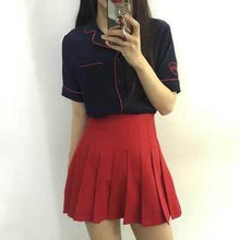 Load image into Gallery viewer, High Waist A line Pleated Skirts Harajuku Preppy Style Mini Skirts Plus Size Solid Slim Skirts with Safe Pants - moonaro