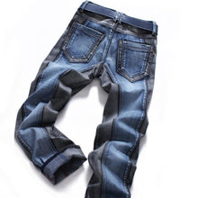 Load image into Gallery viewer, Winter Color Block Men's Jeans pants Slim straight Fashion Brands Rock  Elastic designer jeans for Men - moonaro