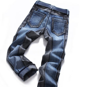 Winter Color Block Men's Jeans pants Slim straight Fashion Brands Rock  Elastic designer jeans for Men - moonaro