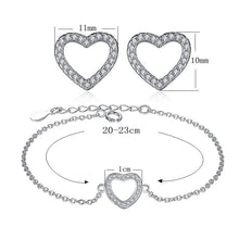Load image into Gallery viewer, New 925 Sterling Silver Heart Stud-Earrings Bracelet with CZ Crystal for Women Wedding Engagement Jewelry Sets