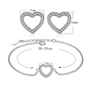 New 925 Sterling Silver Heart Stud-Earrings Bracelet with CZ Crystal for Women Wedding Engagement Jewelry Sets