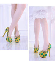 Load image into Gallery viewer, Wedding Shoes High Heels Platform Bridal Shoes Luxury Shoes Green Rhinestone Sexy Ladies Party Shoes