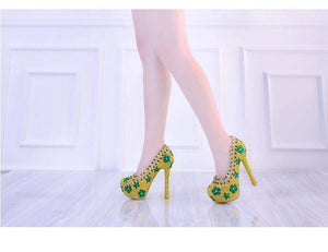 Wedding Shoes High Heels Platform Bridal Shoes Luxury Shoes Green Rhinestone Sexy Ladies Party Shoes