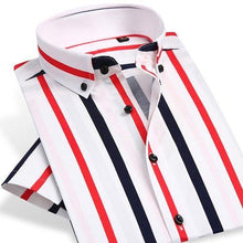 Load image into Gallery viewer, Men's Slim Fit Cotton Bold Stripe Pattern Dress Shirt Smart Casual Short Sleeve Comfortable Breathable Thin Button-down Shirts