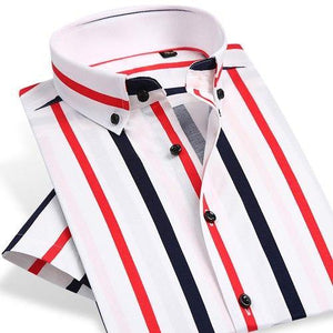 Men's Slim Fit Cotton Bold Stripe Pattern Dress Shirt Smart Casual Short Sleeve Comfortable Breathable Thin Button-down Shirts