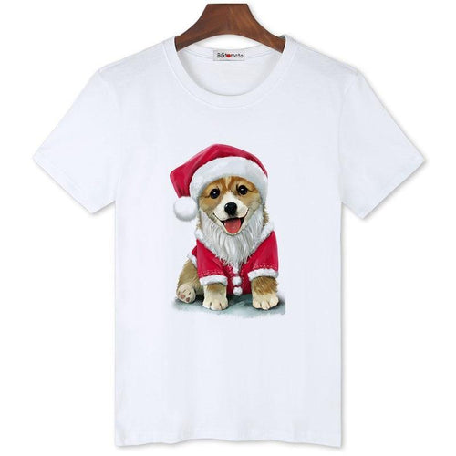 Christmas dog funny tshirt men winter inside wear shirts Lovely Christmas t-shirt men