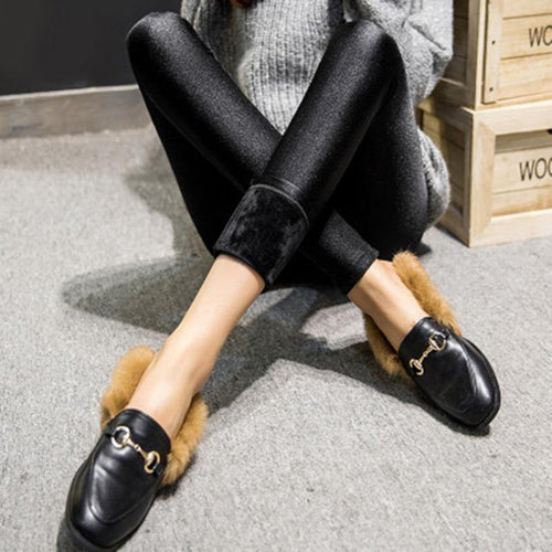 Women Winter Leggings Thick Velvet Solid Color High Waist Sexy Elasticity Shiny Warm Legging