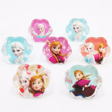Load image into Gallery viewer, Fashion Jewelry 50pcs popular high quality cartoon kids Baby Rings lovely cute cartoon Elsa Anna Princess Resin Rings - moonaro