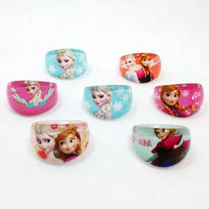 Fashion Jewelry 50pcs popular high quality cartoon kids Baby Rings lovely cute cartoon Elsa Anna Princess Resin Rings - moonaro