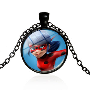 Ladybug Children Cartoon Long Necklace Lady Bug Girl and Black Cat Boy Crystal Glass Dome Pendant Kids Jewelry