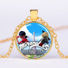 Load image into Gallery viewer, Ladybug Children Cartoon Long Necklace Lady Bug Girl and Black Cat Boy Crystal Glass Dome Pendant Kids Jewelry