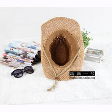 Load image into Gallery viewer, 2 3 4 5 6 years cowboy hat Summer travel sun hat boy's straw cap beach hat for kids children hat cap for boys - moonaro