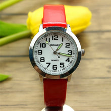 Load image into Gallery viewer, kids simple face quartz watch little boys and girls learn to time casual leather watch birthday Xmas gift clock