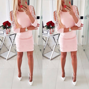 Dress Sexy Fashion Women Off Shoulder With Lace Long Sleeve Bodycon Party Evening Mini Pencil Dress Clubwear