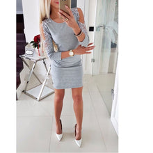 Load image into Gallery viewer, Dress Sexy Fashion Women Off Shoulder With Lace Long Sleeve Bodycon Party Evening Mini Pencil Dress Clubwear