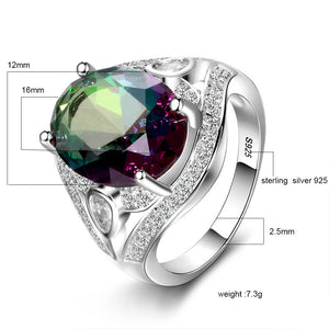 Genuine Rainbow Fire Mystic Oval Topaz Rings Concave Cut Solid 925 Sterling Silver Ring Vintage Fine Jewelry For Women - moonaro