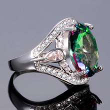 Load image into Gallery viewer, Genuine Rainbow Fire Mystic Oval Topaz Rings Concave Cut Solid 925 Sterling Silver Ring Vintage Fine Jewelry For Women - moonaro