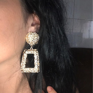 Big Vintage Earrings for Women Gold Silver Black Geometric Statement Earring  Metal Earring Hanging Fashion Jewelry - moonaro