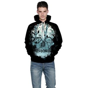 New Fashion Skull Hoodies Men/Women Hooded Hoodies Print Butterfly Trees Skull Thin 3d Sweatshirts Hoody Tops
