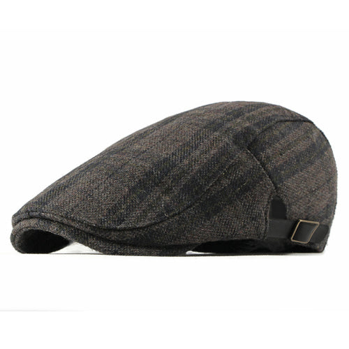 New Autumn Winter Wool Beret Men Women Retro Vintage Plaid Flat Cap Adjustable Duckbill Beret Cap Men Cap Hat
