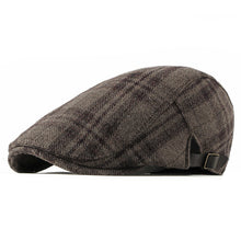 Load image into Gallery viewer, New Autumn Winter Wool Beret Men Women Retro Vintage Plaid Flat Cap Adjustable Duckbill Beret Cap Men Cap Hat
