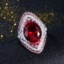 Load image into Gallery viewer, Fashion New 925 Sterling Silver Ring With Ruby Stones For Women Vintage Crystal Zircon Fashion Luxury Party Engagement Jewelry - moonaro