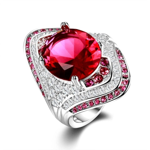 Fashion New 925 Sterling Silver Ring With Ruby Stones For Women Vintage Crystal Zircon Fashion Luxury Party Engagement Jewelry - moonaro