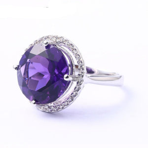Amethyst Sterling Silver Ring For Women 8 Carats Amethyst Crystal Top Quality Amethyst Birthday Gift Party Wedding Ring - moonaro