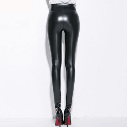 PU Leather Pant High Waist Velvet Warm Leggings Black Sexy Slim Faux Leather Legging Plus Size leggings