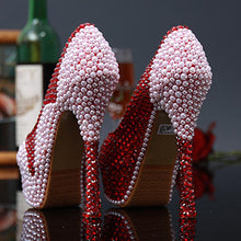 Load image into Gallery viewer, Wedding Pearl Diamond Ultra High Heel Pumps Genuine Leather Waterproof Pumps Wine Red Shoes - moonaro