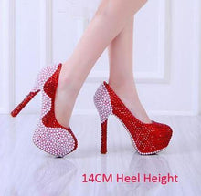 Load image into Gallery viewer, Wedding Pearl Diamond Ultra High Heel Pumps Genuine Leather Waterproof Pumps Wine Red Shoes