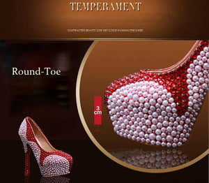 Wedding Pearl Diamond Ultra High Heel Pumps Genuine Leather Waterproof Pumps Wine Red Shoes