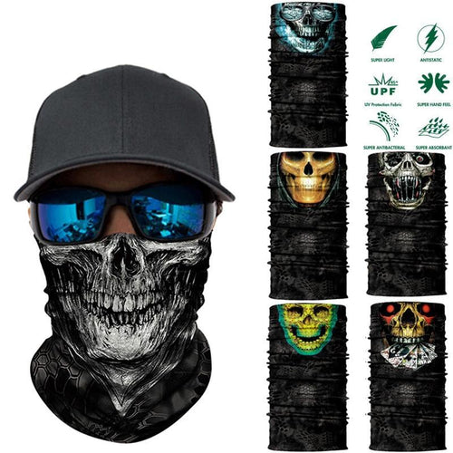 3D Seamless Skull Magic Neck Gaiter Face Mask Head Shield Sport Camping Cycling Fishing Bandana Headband Scarf Men Women - moonaro
