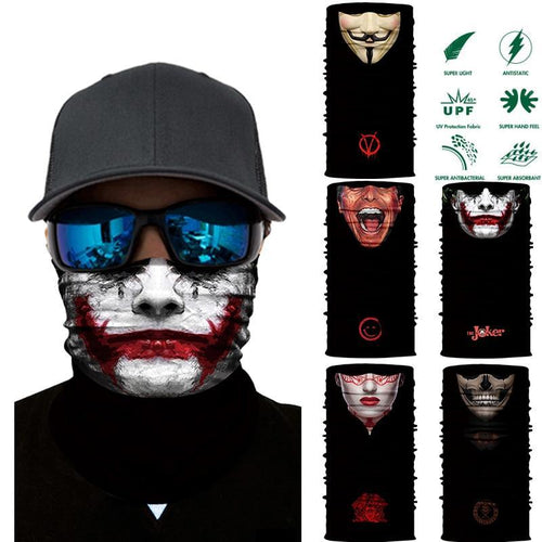 3D Joker Seamless Magic Neck Gaiter Face Shield Cycling Fishing Bike Ski Camping Bandana Halloween Headband Scarf Men Women Mask - moonaro