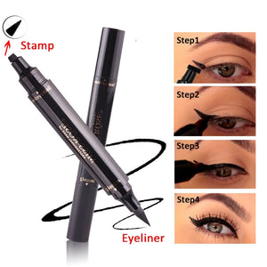 Eyes Liner Liquid Make Up Pencil Waterproof Black Double-ended Makeup Stamps Eyeliner Pencil - moonaro