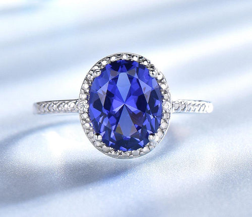 Luxury Tanzanite Rings For Women Solid 925 Sterling Silver Jewelry Gemstone Engagement Ring Sets Wedding Party