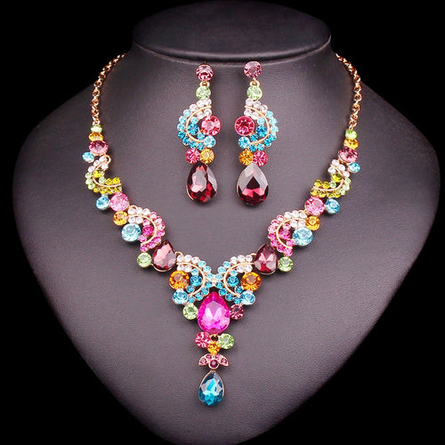 Luxury Multi-color Crystal Wedding Jewelry Sets Party Costume Accessories  Earring Necklace Sets for Brides aa9bab904a57